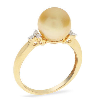 9-9.5mm Golden Cultured South Sea Pearl Ring in 14kt Yellow Gold