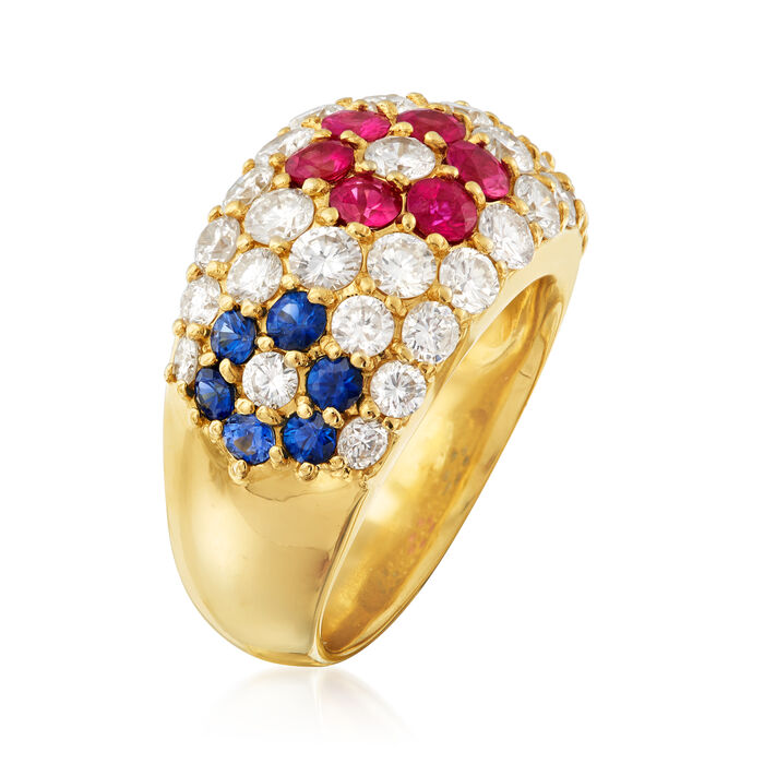 C. 1980 Vintage 1.95 ct. t.w. Diamond and 1.32 ct. t.w. Multi-Gemstone Ring in 18kt Yellow Gold