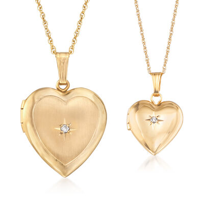 """""""Mommy and Me"""" Heart Locket Necklace Set of Two with Diamond Accents in 14kt Yellow Gold, , default"""