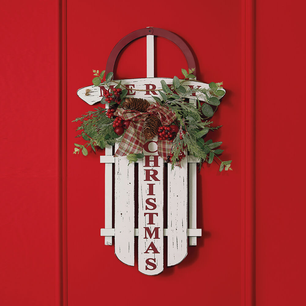 Merry Christmas Decorative Wooden Sled