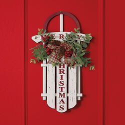 Merry Christmas Decorative Wooden Sled, , default