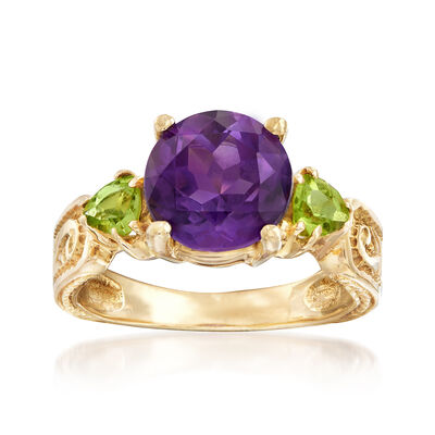 C. 1980 Vintage 2.50 Carat Amethyst and .50 ct. t.w. Peridot Ring in 10kt Yellow Gold, , default
