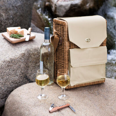 """Corsica"" Wine and Cheese Picnic Basket with Set of 3 Tools"