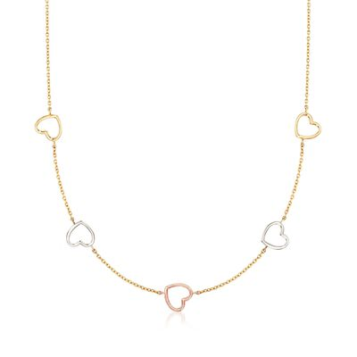 14kt Tri-Colored Gold Open-Space Heart Station Necklace, , default