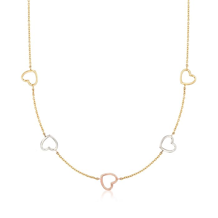 """14kt Tri-Colored Gold Open-Space Heart Station Necklace. 17"""", , default"""