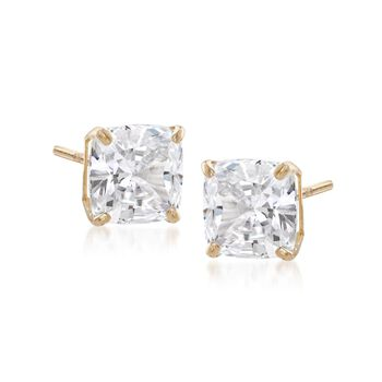 4.00 ct. t.w. Cushion-Cut CZ Stud Earrings in 14kt Yellow Gold , , default