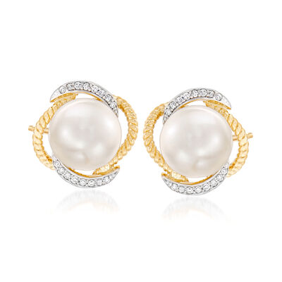 9.5-10mm Cultured Pearl and .14 ct. t.w. Diamond Earrings in 14kt White Gold
