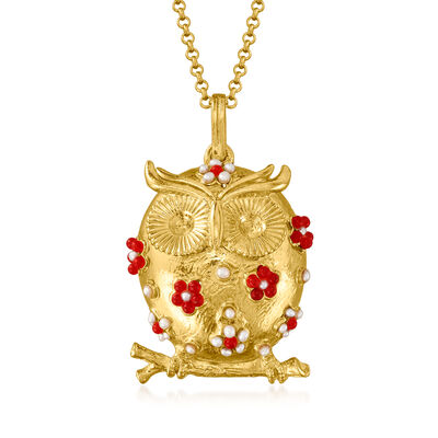 Italian 2mm Cultured Pearl and Red Glass Bead Owl Pendant Necklace in 18kt Gold Over Sterling