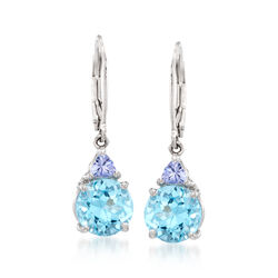 6.25 ct. t.w. Blue Topaz .40 ct. t.w. Tanzanite Drop Earrings in Sterling Silver, , default