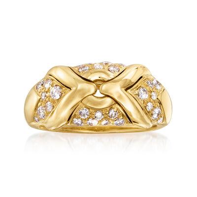 "C. 1990 Vintage Bulgari ""Trika"" .65 ct. t.w. Diamond Ring in 18kt Yellow Gold"
