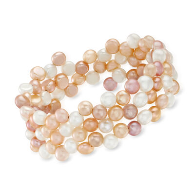 6-7mm Multicolored Cultured Pearl Triple-Row Wrap Bracelet