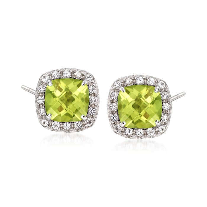 .20 ct. t.w. Peridot and .10 ct. t.w. White Topaz Stud Earrings Sterling Silver, , default