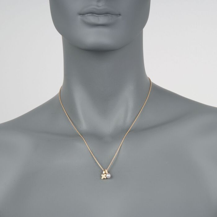 """Mikimoto 5.5mm A+ Akoya Pearl Floral Pendant Necklace with Diamond Accents in 18kt Yellow Gold. 18"""", , default"""