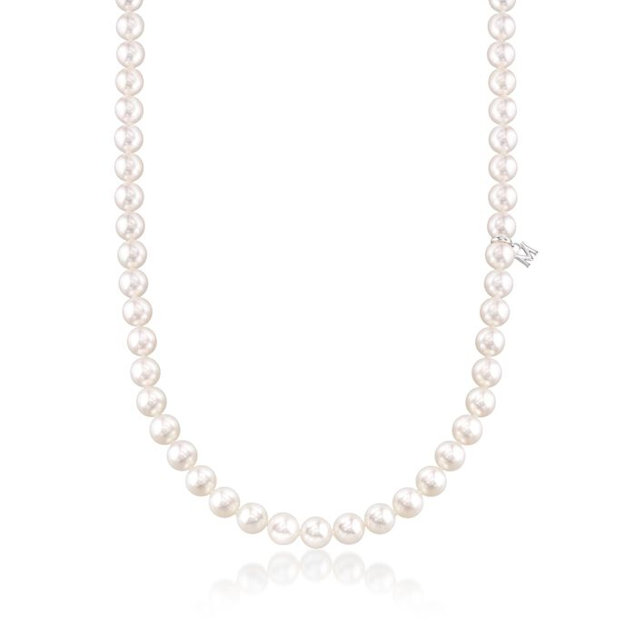 """Mikimoto 6.5-7mm 'A' Akoya Pearl Necklace in 18kt White Gold. 18"""", , default"""