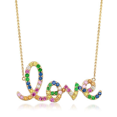 ".60 ct. t.w. Multi-Gemstone ""Love"" Necklace in 14kt Yellow Gold, , default"