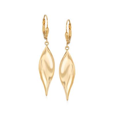 14kt Yellow Gold Curved Teardrop Earrings, , default