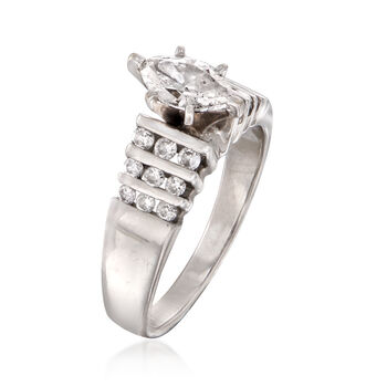 C. 2000 Vintage .90 ct. t.w. Diamond Ring in 14kt White Gold. Size 6.5, , default