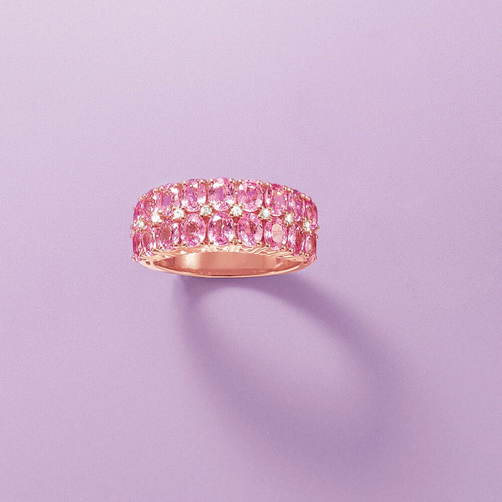 3.80 ct. t.w. Pink Sapphire Ring With Diamond Accents in 14kt Rose ...