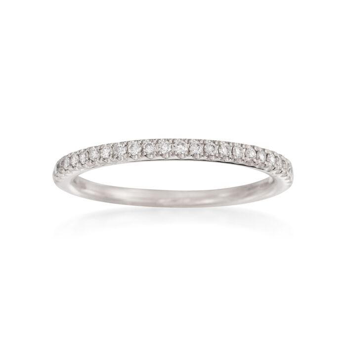 Henri Daussi .15 ct. t.w. Pave Diamond Wedding Ring in 18kt White Gold