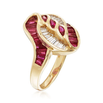 C. 1990 Vintage 2.38 ct. t.w. Ruby and .49 ct. t.w. Diamond Swirl Ring in 18kt Yellow Gold. Size 6.5, , default