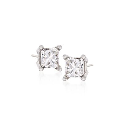 .10 ct. t.w. Princess-Cut Diamond Stud Earrings in 14kt White Gold, , default