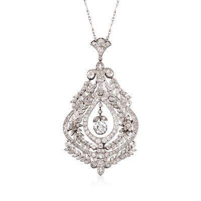C. 1960 Vintage 6.5 ct. t.w. Diamond Pendant Necklace in Platinum, , default