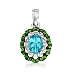 1.00 Carat Teal Apatite Pendant With Green Chrome Diopsides and White Zircons in Sterling Silver, , default