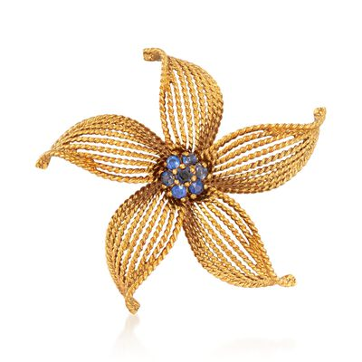 C. 1970 Vintage 18kt Yellow Gold Floral Pin with .30 ct. t.w. Sapphires, , default