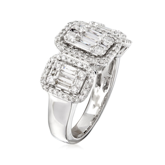 1.10 ct. t.w. Round and Baguette Diamond Ring in 18kt White Gold