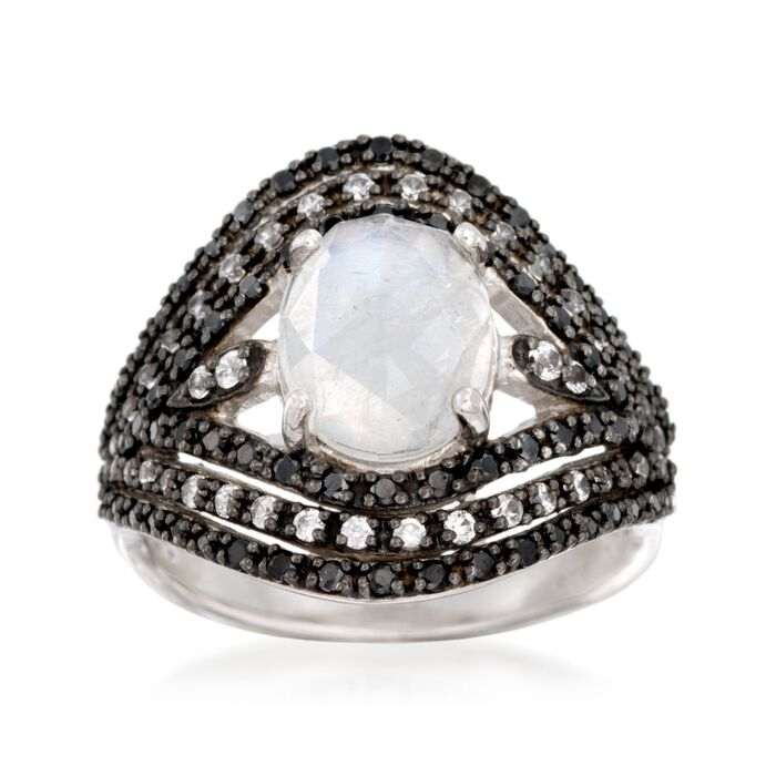Moonstone and Black Spinel Ring With White Zircons in Sterling Silver, , default