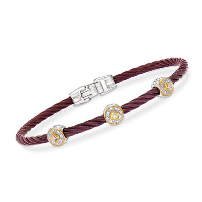 "ALOR ""Shades of Alor"" .14 ct. t.w. Diamond Burgundy Carnation Cable Station Bracelet in Stainless Steel and 18kt Yellow and White Gold"