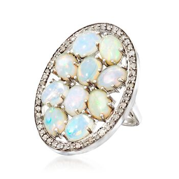 Ethiopian Opal and .95 ct. t.w. Diamond Ring in Sterling Silver, , default