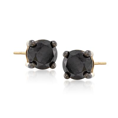 1.50 ct. t.w. Black Diamond Stud Earrings in 14kt Yellow Gold, , default