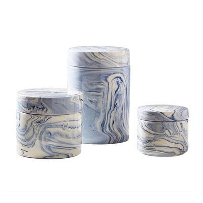 Terre Melee Set of 3 Blue Ceramic Covered Jars, , default