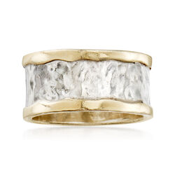 Sterling Silver and 14kt Yellow Gold Cigar-Band Ring, , default