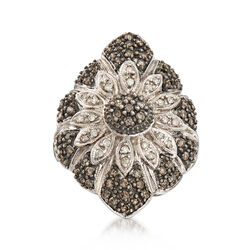 C. 1990 Vintage 1.15 ct. t.w. Champagne and White Diamond Flower Ring in 10kt White Gold, , default