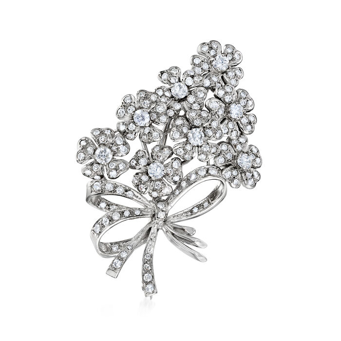 C. 1980 Vintage 5.00 ct. t.w. Diamond Floral Bouquet Pin in 18kt White Gold, , default