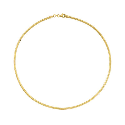 Italian 3mm 18kt Gold Over Sterling Silver Round Omega Necklace
