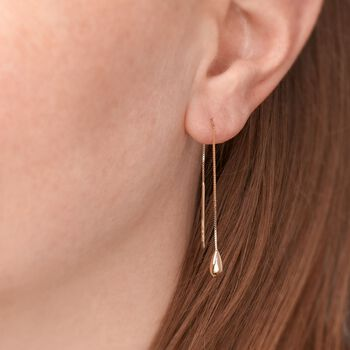 14kt Yellow Gold Teardrop Threader Earrings, , default