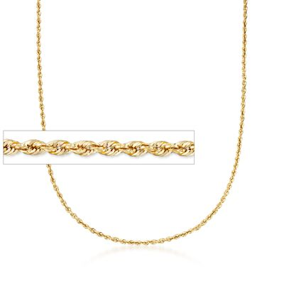 3.2mm 14kt Yellow Gold Rope Chain Necklace, , default