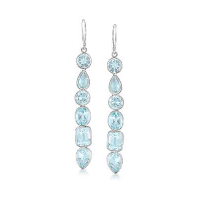 12.90 ct. t.w. Multi-Shaped Blue Topaz Drop Earrings in Sterling Silver, , default