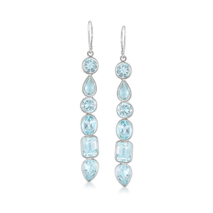 12.90 ct. t.w. Multi-Shaped Blue Topaz Drop Earrings in Sterling Silver , , default