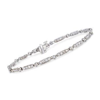 """C. 1990 Vintage 1.55 ct. t.w. Diamond Milgrain Bracelet in Platinum. 6.75"""", , default"""