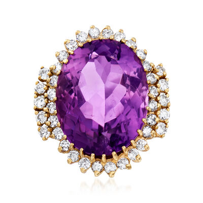 C. 1970 Vintage 24.40 Carat Amethyst and 1.55 ct. t.w. Diamond Ring in 14kt Yellow Gold