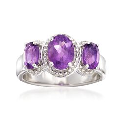 1.80 ct. t.w. Amethyst Three-Stone Ring in Sterling Silver, , default