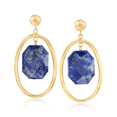 Lapis Oval Drop Earrings in 14kt Yellow Gold