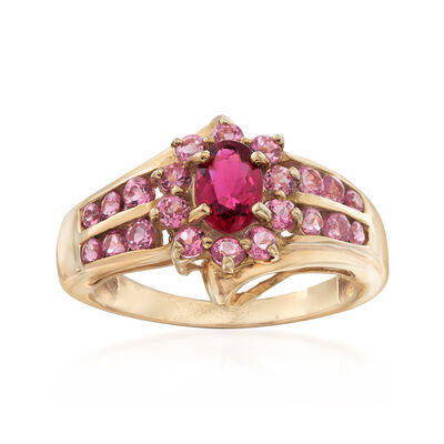 C. 1990 Vintage .65 ct. t.w. Pink Topaz and .35 Carat Pink Tourmaline Ring in 14kt Yellow Gold, , default