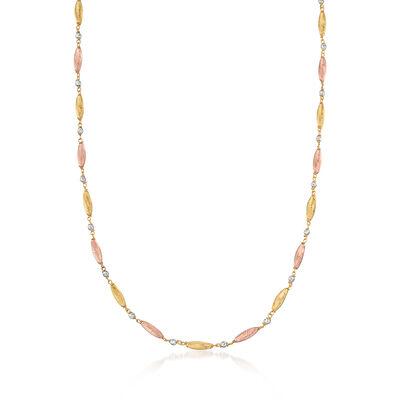 Italian 18kt Tri-Colored Gold Diamond-Cut Bead Station Necklace, , default