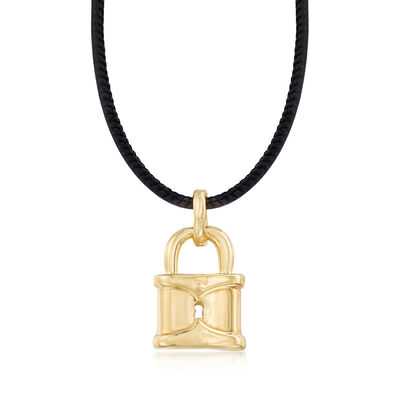 Italian Andiamo 14kt Yellow Gold Lock Pendant Necklace, , default