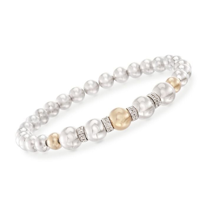 Sterling Silver and 14kt Yellow Gold Bead Stretch Bracelet with .24 ct. t.w. Diamonds, , default